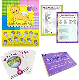 Adorox Baby Shower Party Game (Pin The Bottle or Pacifier on The Baby) Poster (1pkg) (5 Game Party Pack)