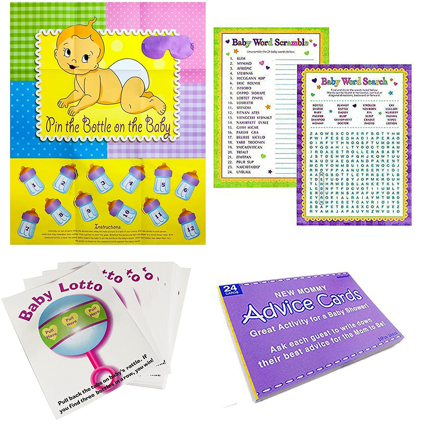 Adorox Baby Shower Party Game (Pin The Bottle or Pacifier on The Baby) Poster (1pkg) (5 Game Party Pack) ADX252_FBA