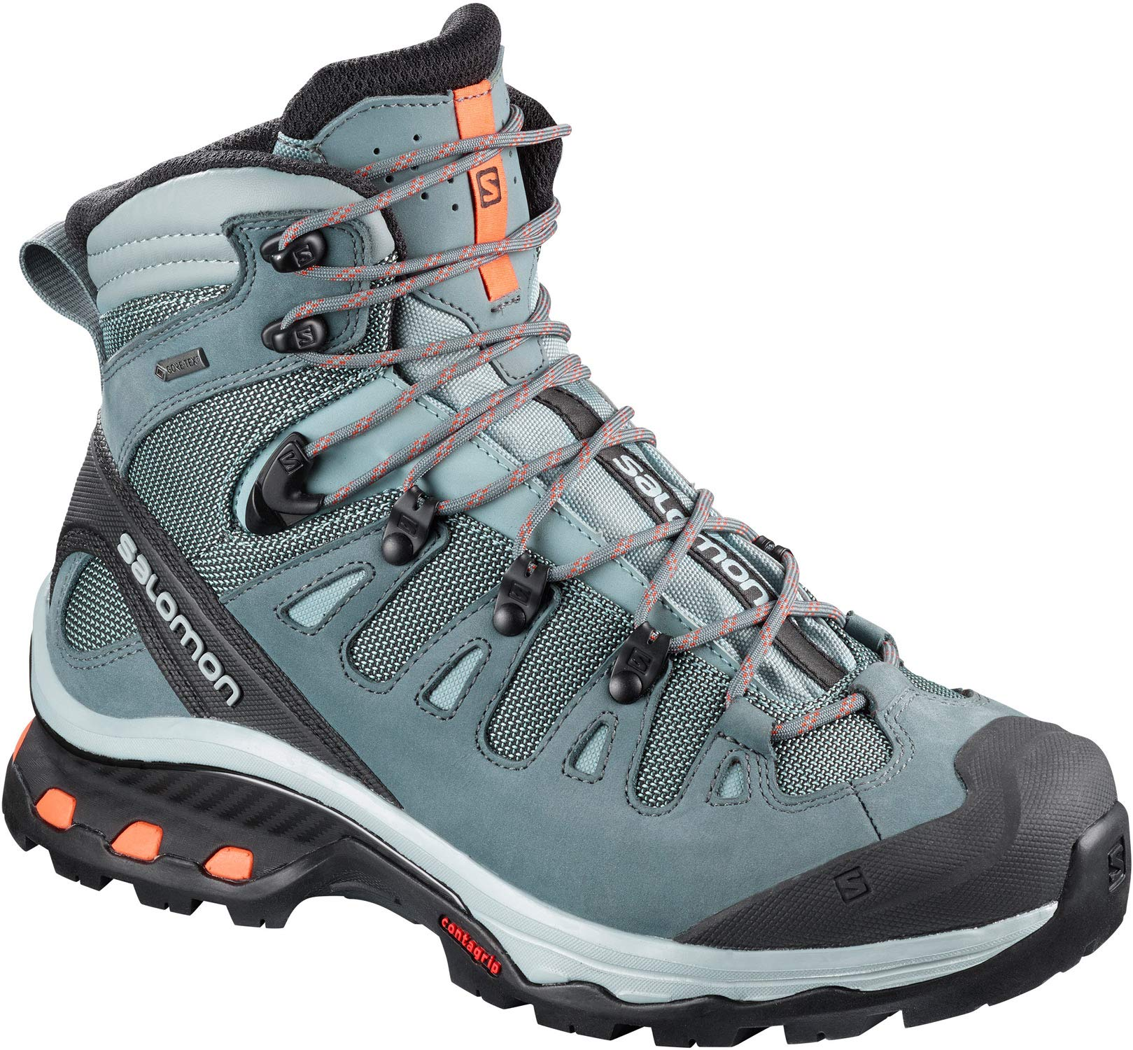 Salomon Women's Quest 4D 3 GTX Backpacking Boots, Lead/Stormy Weather/Bird Of Paradise, 8.5 by SALOMON