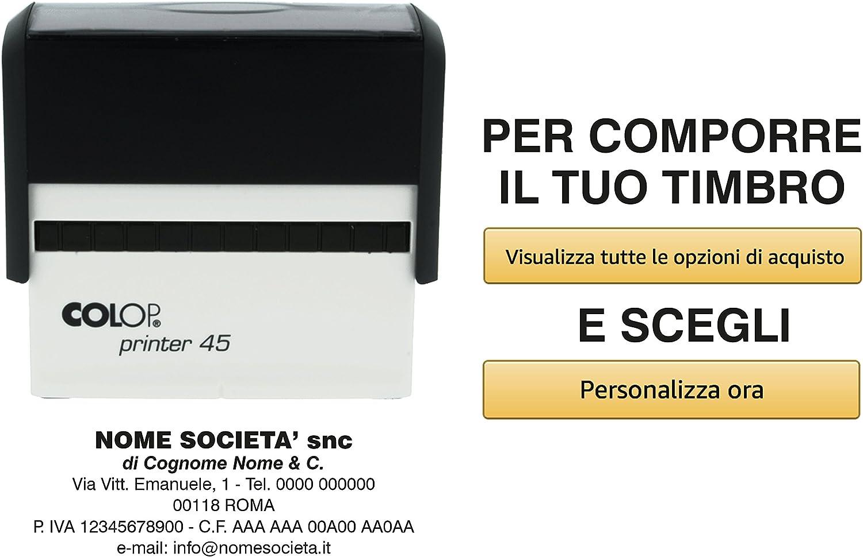 Timbro personalizzato a 6 righe COLOP Printer 50 69 x 30 mm per indirizzo e ragioni sociali Violet