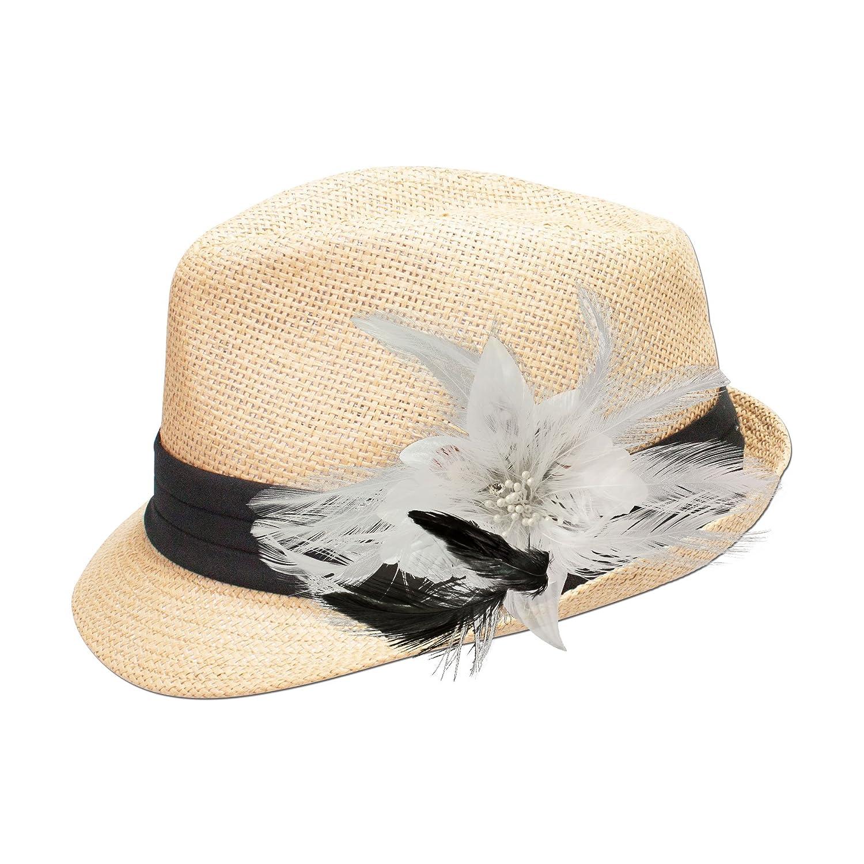 Alpenflüstern Damen Strohhut Trachtenhut natur mit Feder-Clip ADV05300010 weiß