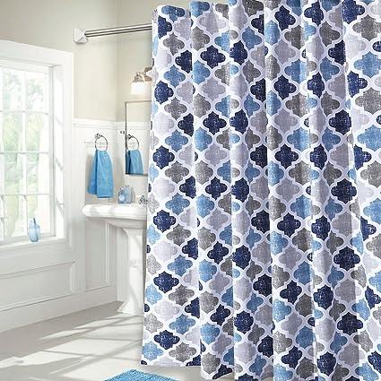Haperlare Quatrefoil Fabric Shower Curtain Geometric Pattern For Bathroom Showers And Bathtub