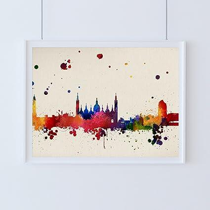 Nacnic Lámina Ciudad de Zaragoza. Skyline Estilo Acuarela y explosión de Color. Poster tamaño
