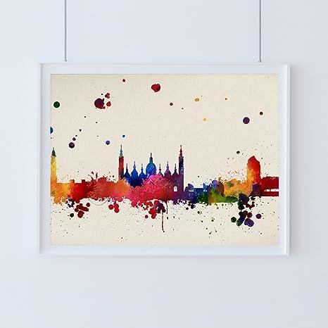 Nacnic Lámina Ciudad de Zaragoza. Skyline Estilo Acuarela y explosión de Color. Poster tamaño A3 Impreso en Papel 250 Gramos y tintas Decoración del ...
