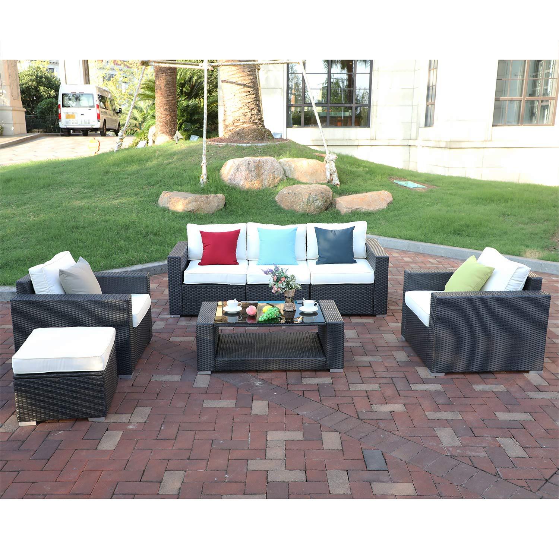Do4U 7pcs Outdoor PE Rattan Wicker Sofa Set Patio Garden Furniture Set (Brown Rattan & Beige Cushion)