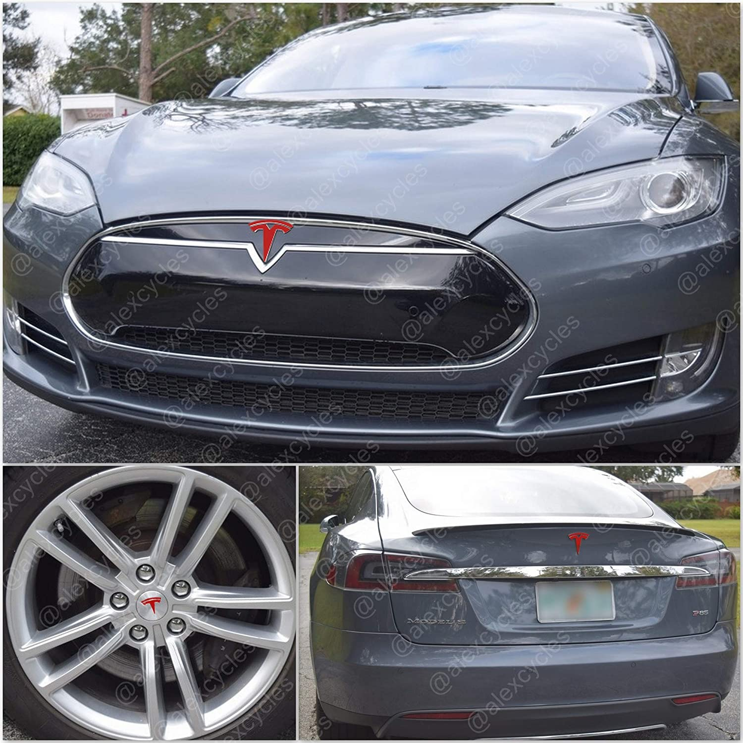 AlexCycles Tesla Model S Old Fascia Front Rear Wrap Wheel Insert Gloss Red Decals Stickers Set