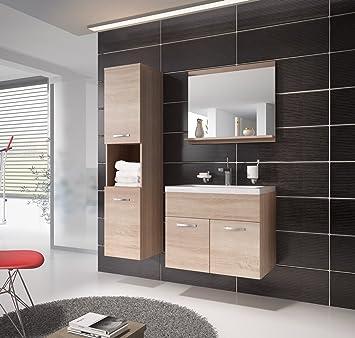 Badezimmer Badmöbel Montreal 60 Cm Waschbecken Sonoma Eiche   Unterschrank  Hochschrank Waschtisch Möbel