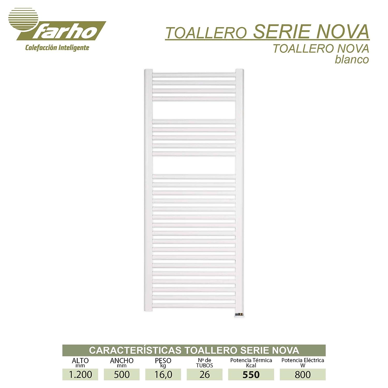 farho - Toallero Eléctrico bajo Consumo Nova Blanco Radiador Toallero Eléctrico con Crono-Termostato Digital Programable Toallero Baño con 800 Watios ...