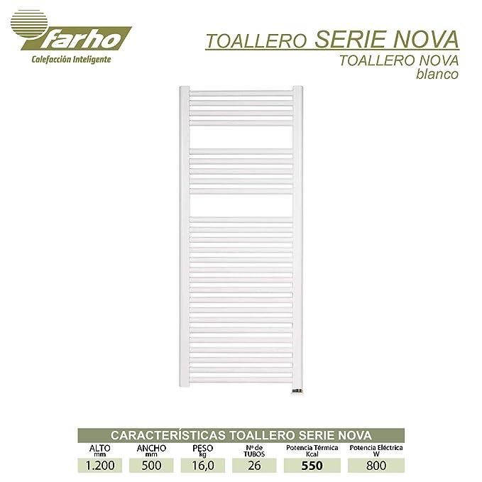 farho - Toallero Eléctrico bajo Consumo Nova Blanco Radiador Toallero Eléctrico 800 W Digital Programable - (Medidas 1200 x 500 mm): Amazon.es: Hogar