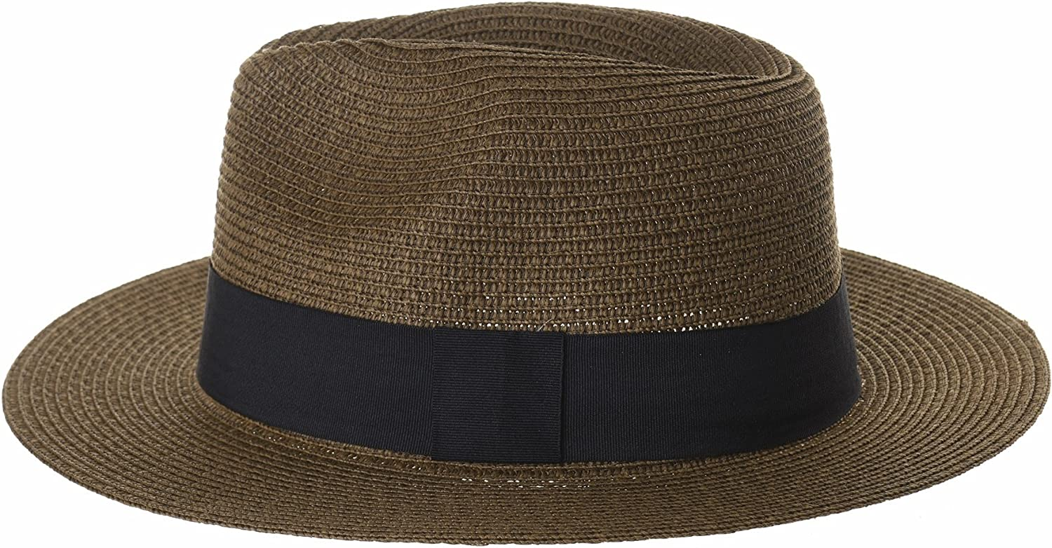 WIM Cappello Panama Fedora Panama Hat Black Banded Wide Brim Cool Summer SL6690