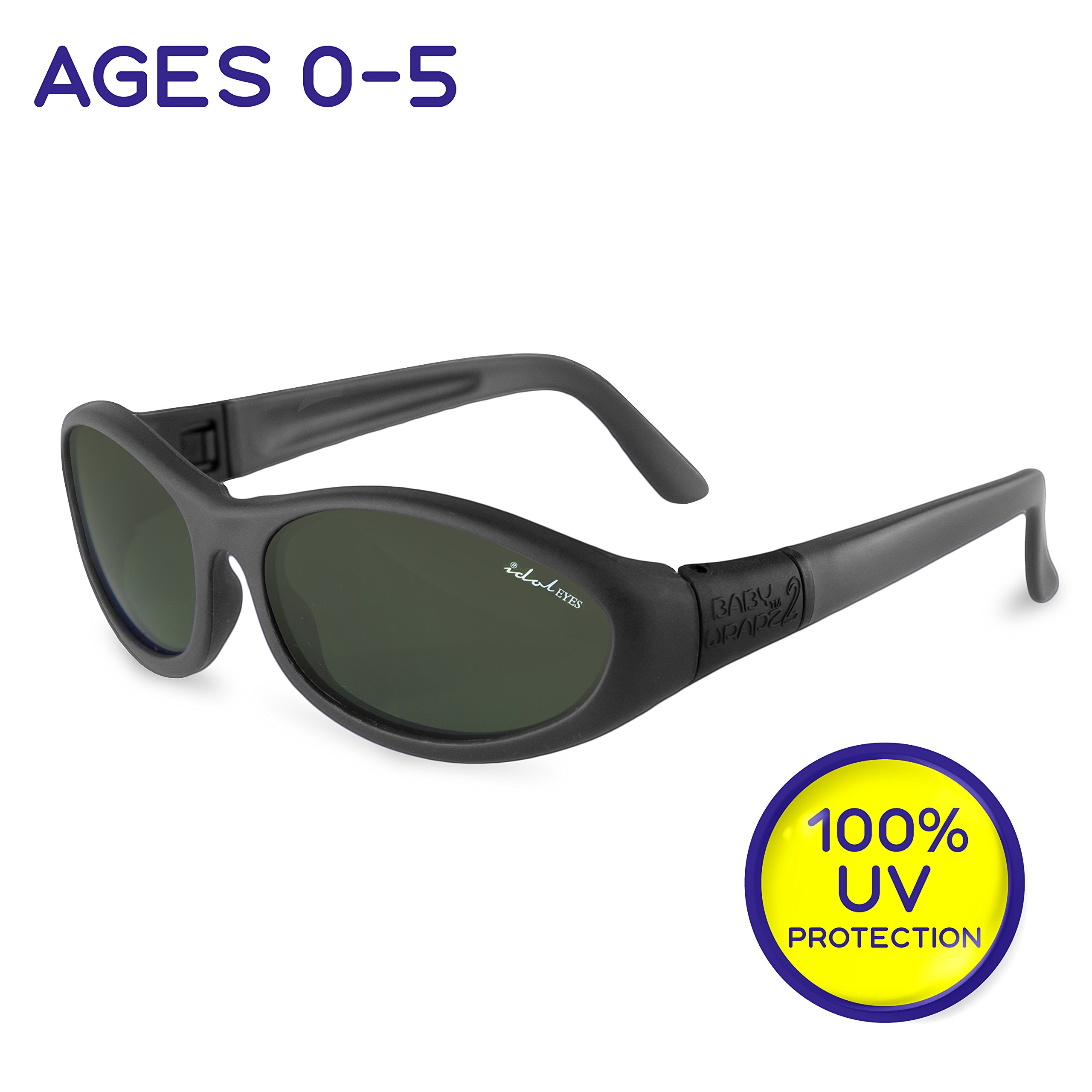 "Idol Eyes Kids Sunglasses for Kids - ""Baby Wrapz 2"" 100% UV Protection Baby Sunglasses with Strap and Temples + Extra Baby Sunglasses Strap for Ages 0-5 (Black) by Livin' Well"