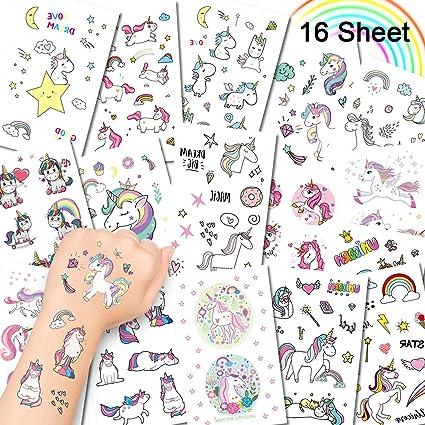 Alohar 295 Piezas Tatuajes Temporales Unicornio - Fiesta de Cumpleaños Regalo Pegatinas Tattoo Falso para Niños Niñas Infantiles Adultos (16 Hojas)
