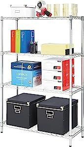 Alera ALE Residential Wire Shelving, Four-Shelf, 36w x 14d x 54h, Silver