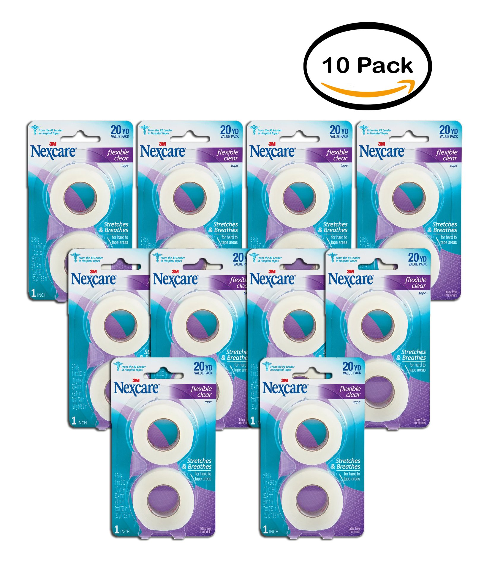 PACK OF 10 - Nexcare Flexible Clear First Aid Tape, 771-2PK, 1 in x 10 yds, 2 Rolls by Nexcare