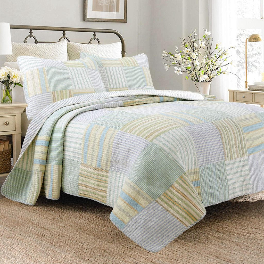 Spa Striped Patchwork 3-Piece Quilt Set (King Size)