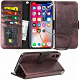 Arae for iPhone X/Xs Case with Credit Card Holder and Wrist Strap (Metallic)