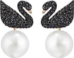 Swarovski Pendientes Iconic Swan, negro, baño de oro rosa