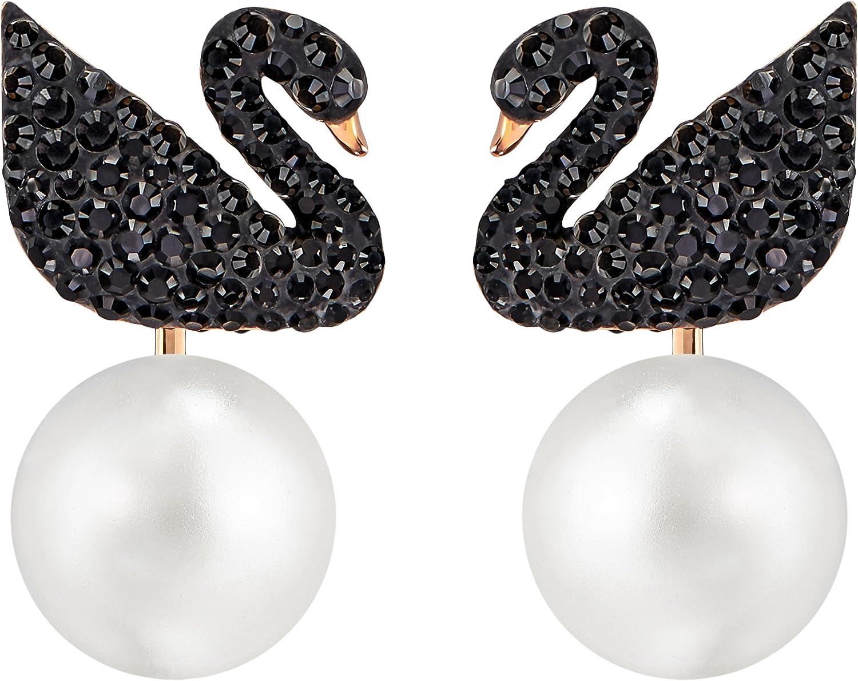 Swarovski Pendientes Ear Jacket Iconic Swan, negro, Baño en tono Oro Rosa