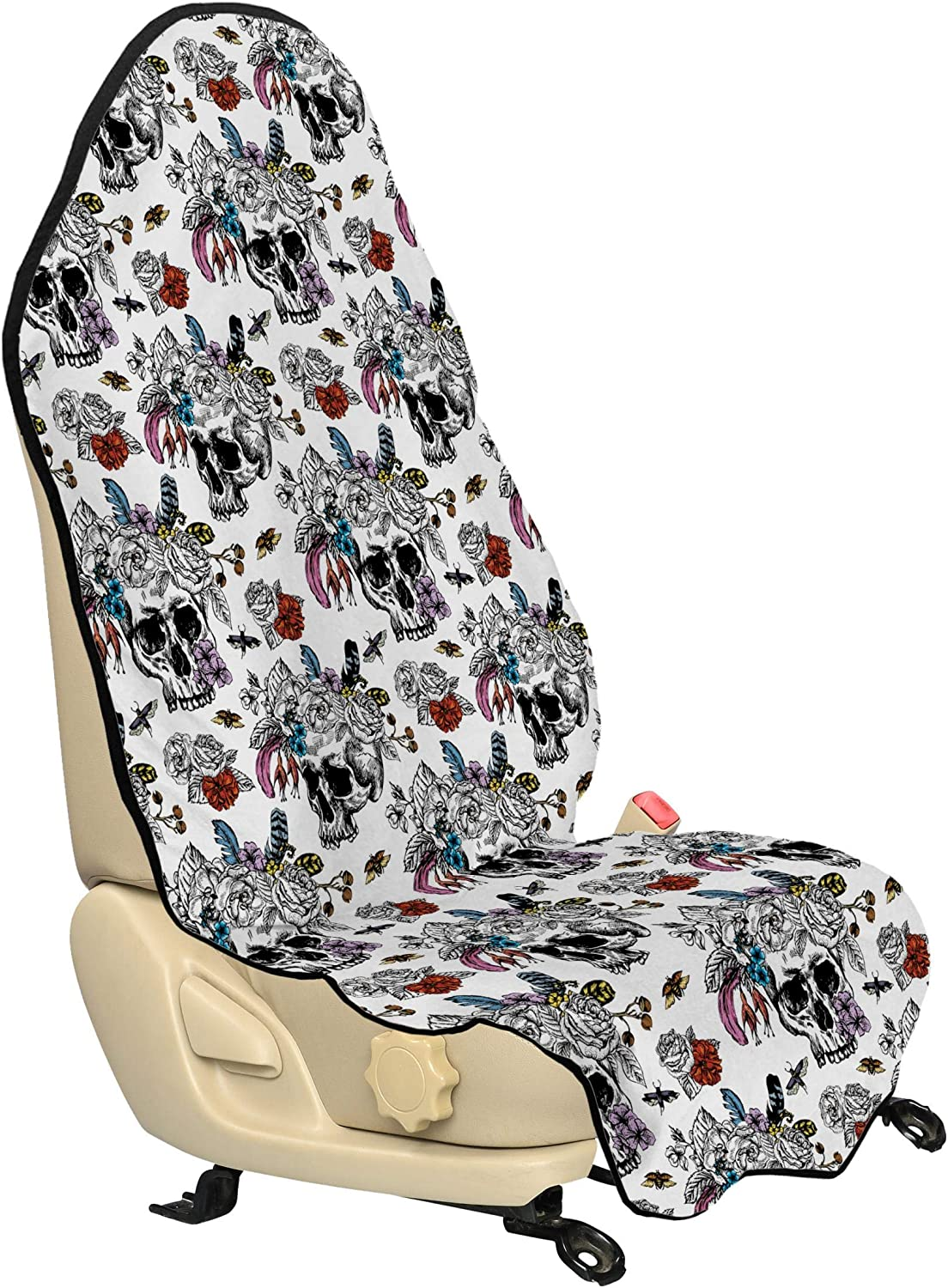 Scarlet White Ambesonne Red Mandala Car Seat Hoody Car Seat Cover Protector Non Slip Backing Universal Fit Design Pattern Doodles Mandala Style Flowers 30 X 57