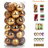 "iPEGTOP Shatterproof Christmas Ball Ornaments - 30ct 60mm/2.4"" Gold Shiny Matte Glitter and Pierced Christmas Tree Balls Baubles for Festival Party Decorations"