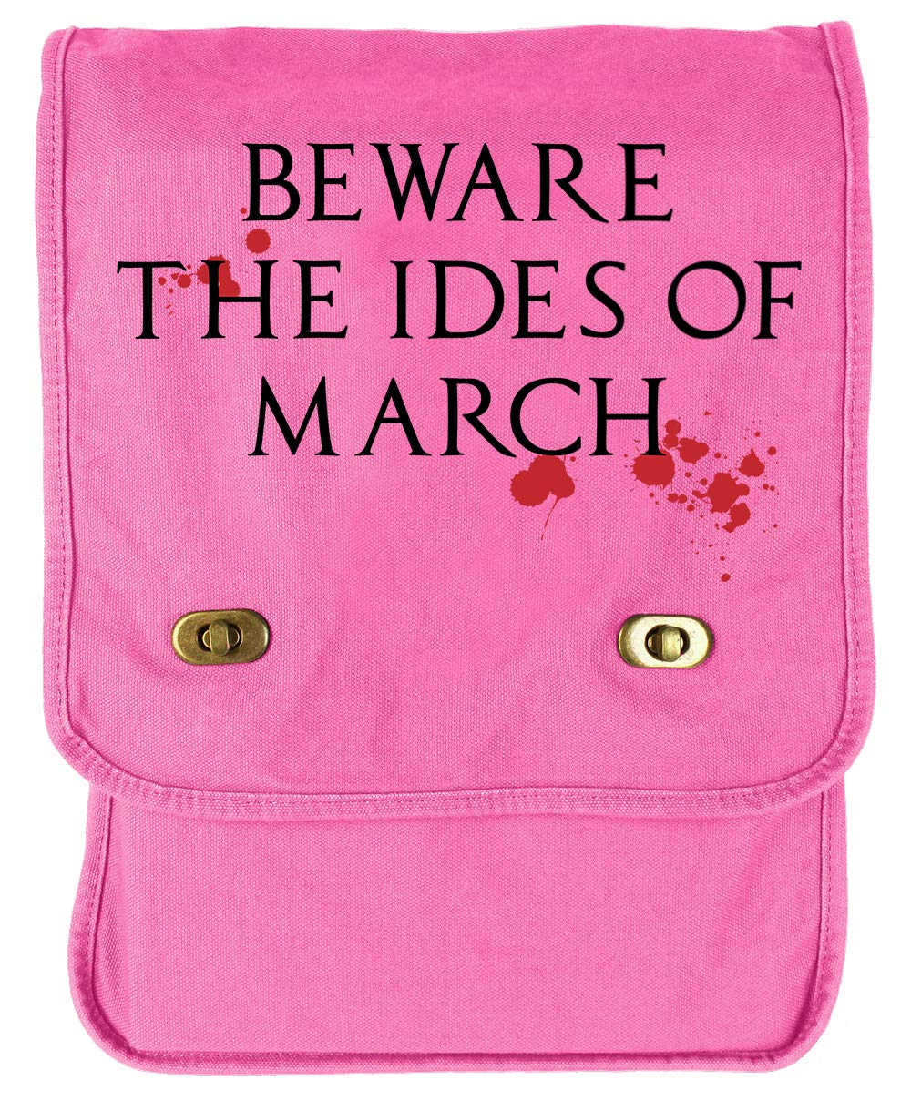 Tenacitee Beware the Ides of March Bloody Flamingo Raw Edge Canvas Messenger Bag