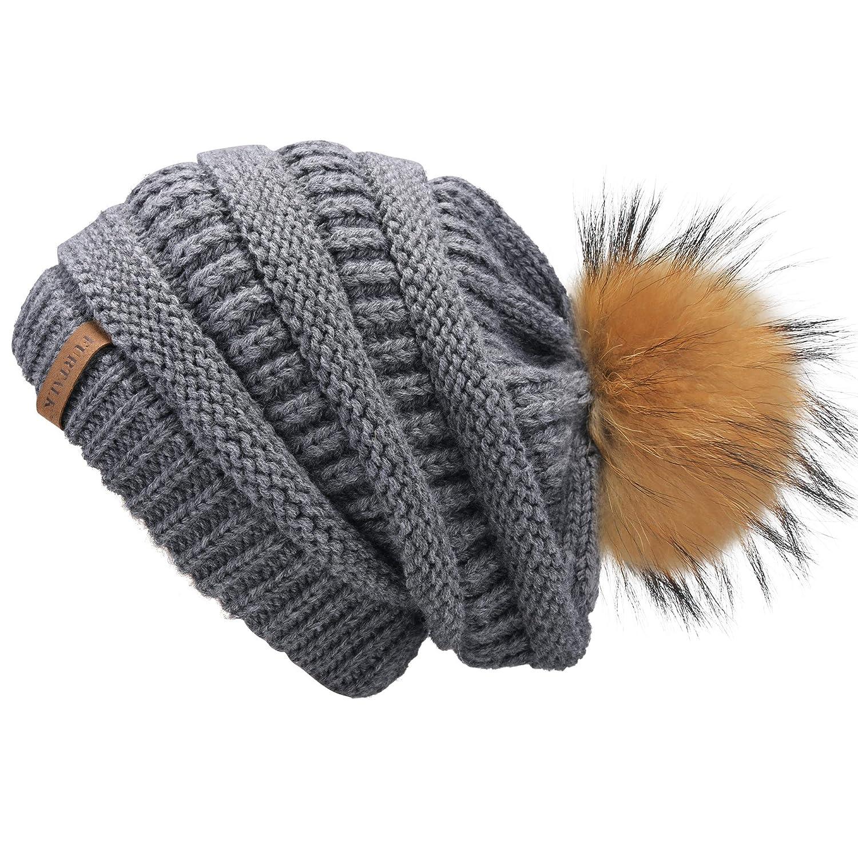 FURTALK Womens Slouchy Winter Hats Knitted Beanie Caps Real Fur Pom Pom Bobble Hat