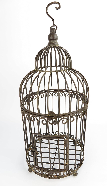 Clever-Deko Pájaro Antiguo Jaula Jaula Bauer–Maceta Jaula Antiguo Marrón Planta Jaula Decorativa pájaro Estilo Modernista Estilo Colonial Metal Jaula de Metal