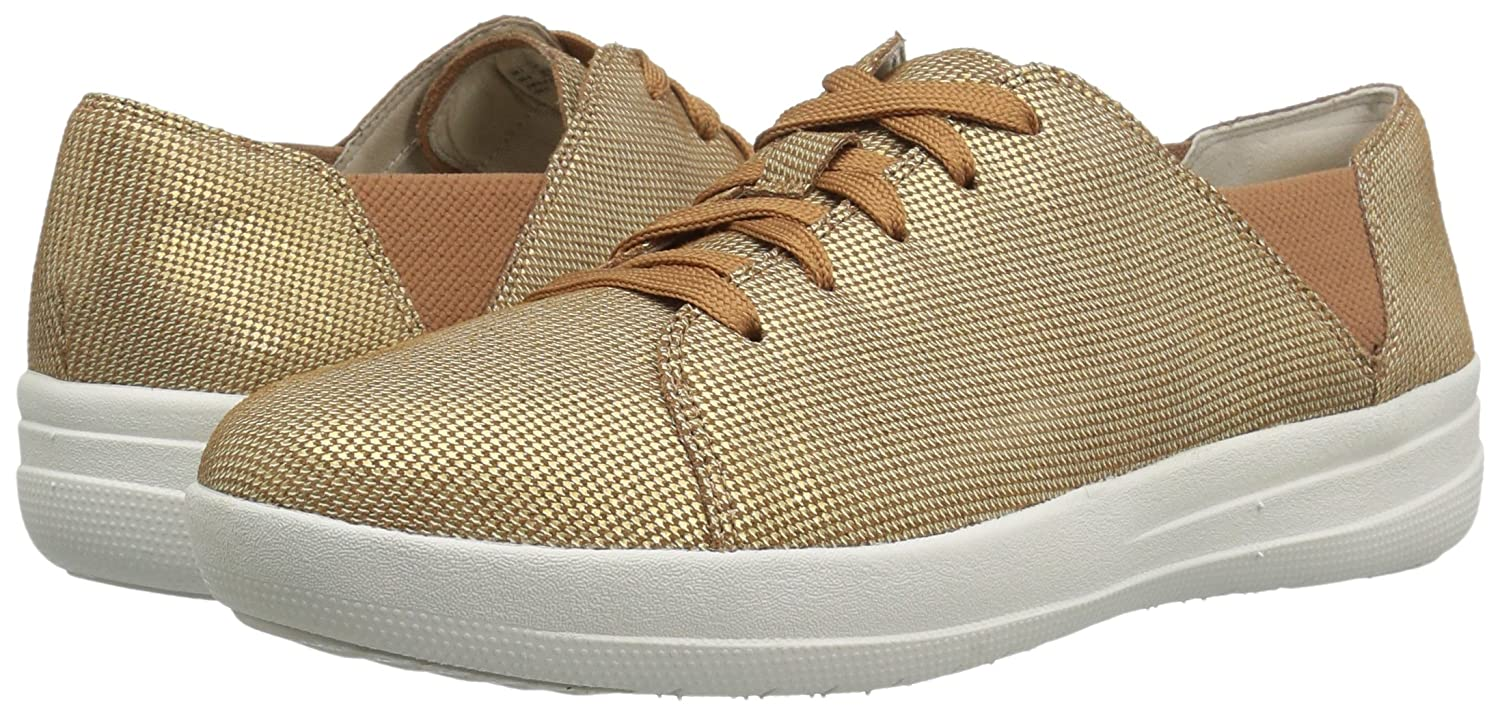 FitFlop Women's Fashion F-Sporty Lace-up Houndstooth Print Fashion Women's Sneaker B06XYJ3S4B 7 B(M) US|Pale Gold 35e844