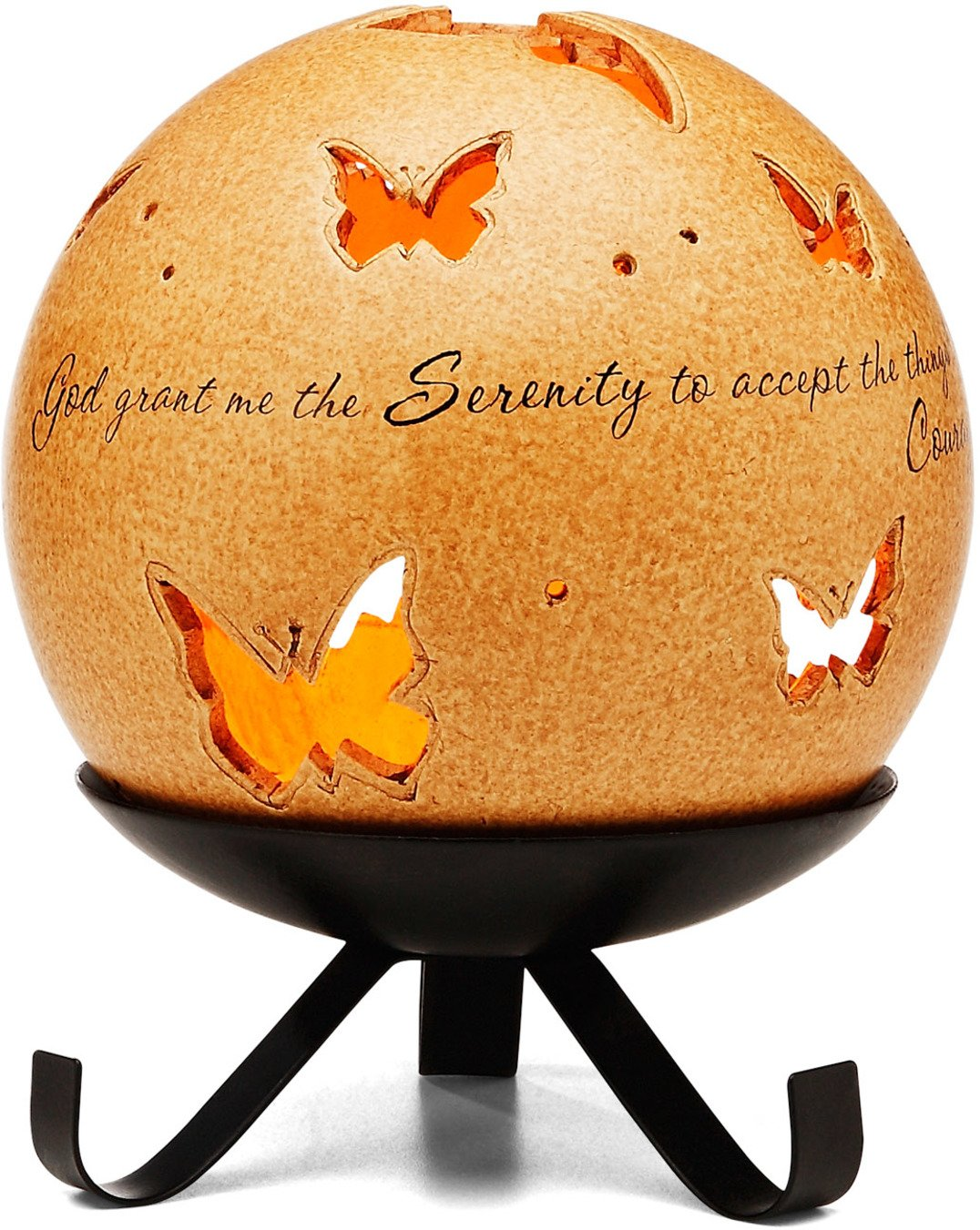 Comfort Candles Serenity Pavilion Gift Includes Tea Light Candle and Stand, 6-1/2-Inch, Butterfly Pierced Round Pavilion Gift Company 05974