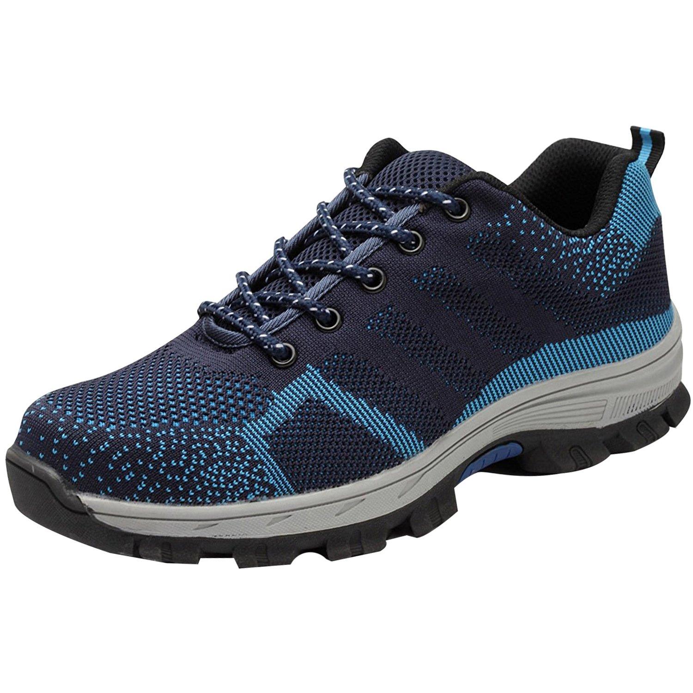 COOU Scarpe Antinfortunistiche Uomo Donna s3 Comodissime Scarpe da Lavoro con Punta in Acciaio Scarpe Sportive di Sicurezza Unisex Style 2 : Blue