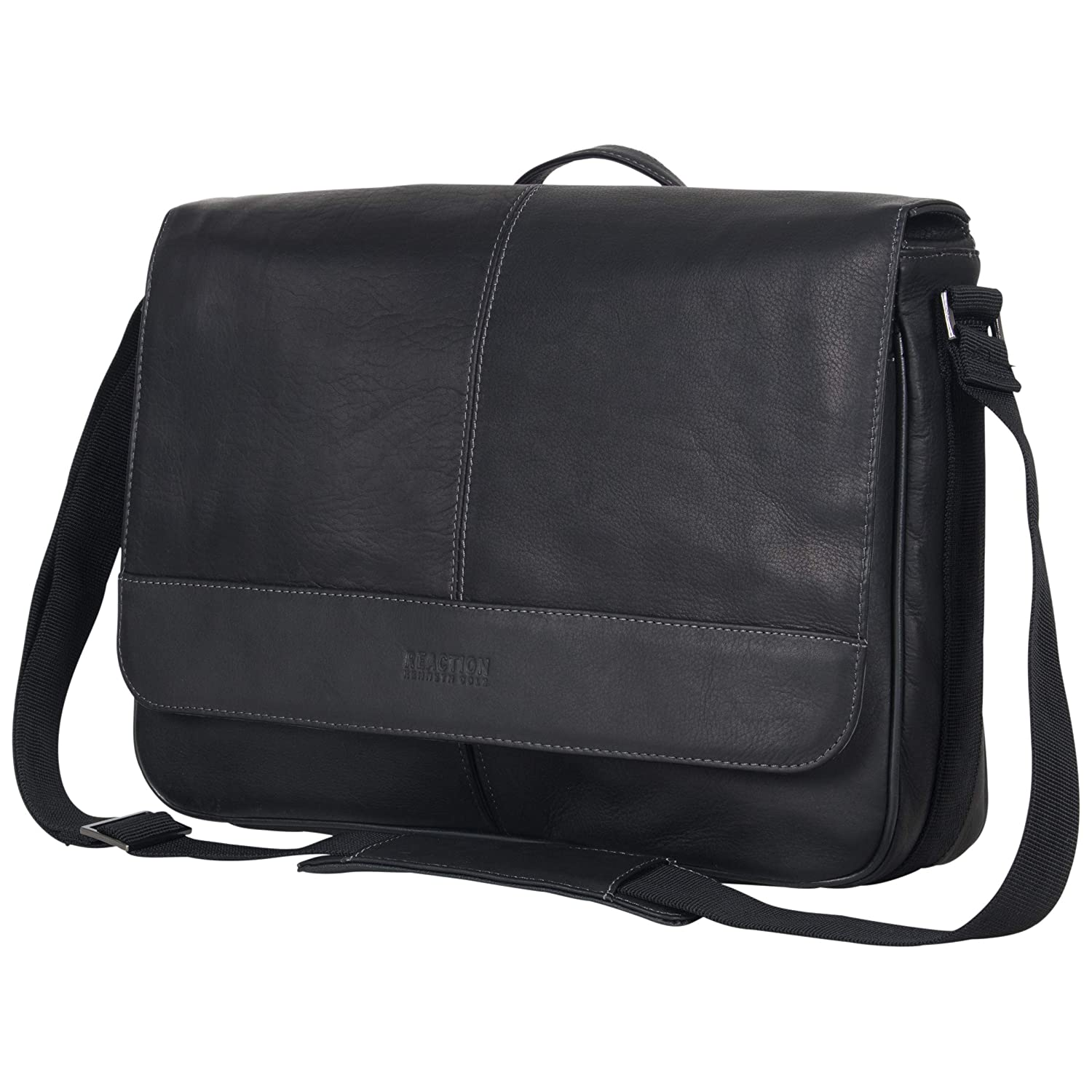 10f4c1053 Amazon.com | Kenneth Cole Reaction Risky Business Full-Grain Colombian Leather  Crossbody Flapover Messenger Bag, Black | Messenger Bags