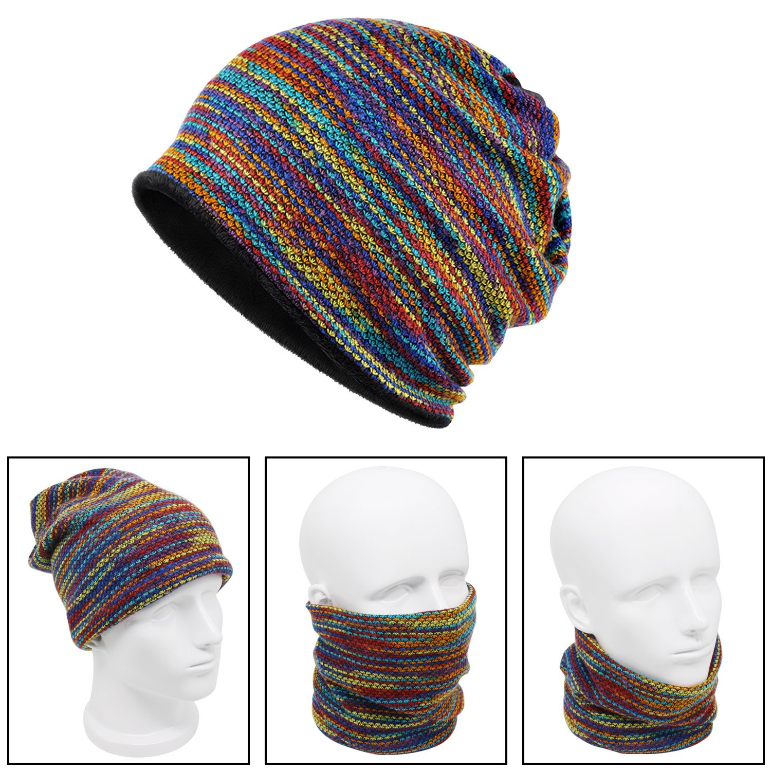 Xcellent Global Cappello scaldacollo unisex multiuso per collo, testa, viso, multicolore SP047