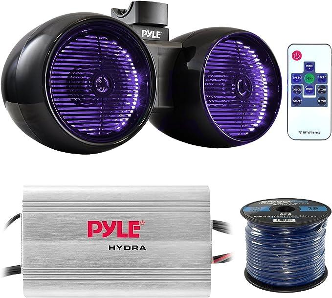"NEW Pyle PLMRWB652LEB Dual 6.5/""  Marine Tower Wakeboard Speakers  Lights  400W"