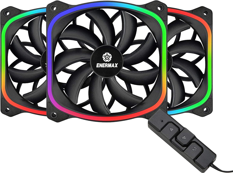 White; UCSQARGB12P-W-SG Addressable RGB Sync Via Motherboard Enermax Squa RGB PWM 120mm Case Fan Single Pack