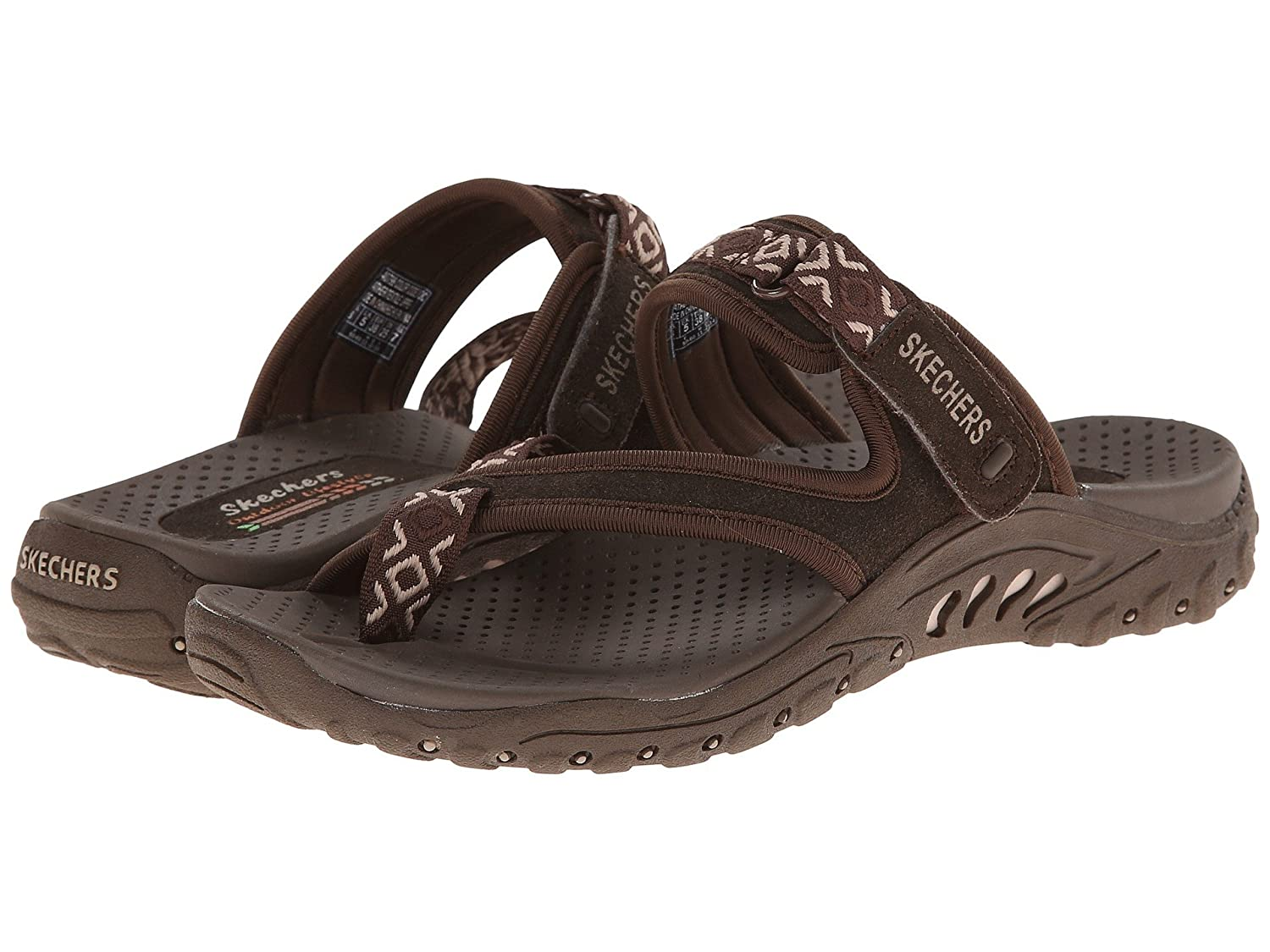 Skechers Women's Reggae-Zig Swag Sandals Flip-Flop B07CQRD5Y2 7.5 B(M) US|Chocolate/Cream