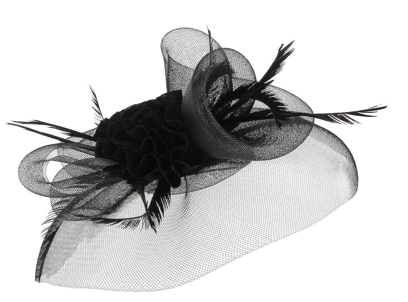 La Vogue-Cappello Copricapo Donna Capelli Accessori Tulle Fiore con Piuma Clip Fascinator