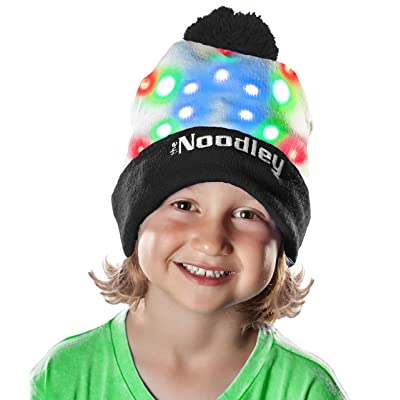The Noodley LED Light Up Hat Beanie Hat Cool Kids Toys for Boys Teens All Ages One Size (Black / White): Toys & Games
