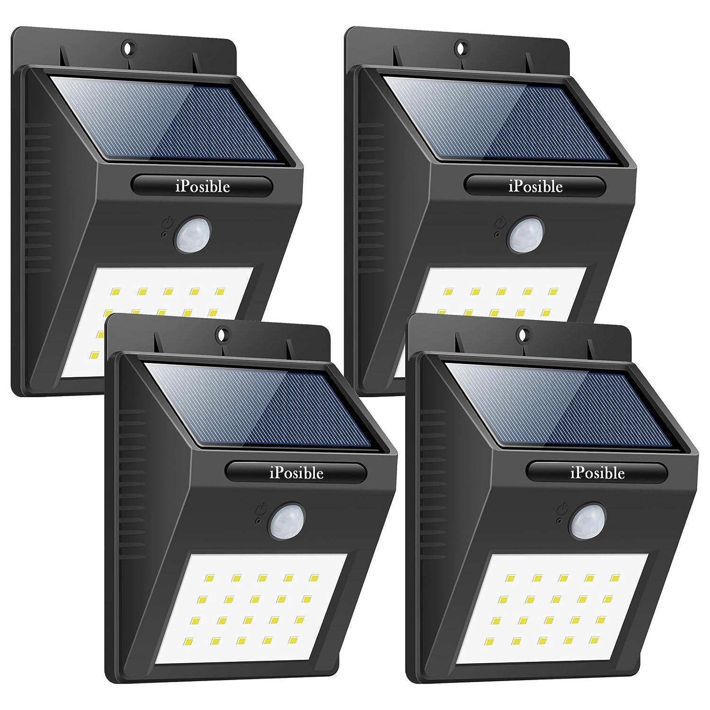 iPosible Solarleuchten für Außen, 20 LED Superhelles Solarlampe mit Bewegungsmelder LED Solarbetriebene Lichter Bewegung Solarlicht Wasserdichte Sicherheitswandleuchte Draußen für Garten,Patio,Hof