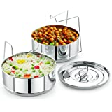 Stackable Stainless Steel Insert Pans - Instant Pot Insert  - Instapot Pan - Pressure Cooker Steamer Pan -  FITS 6 Quarts and Above - Single Size Stackable Insert Pans Fits All