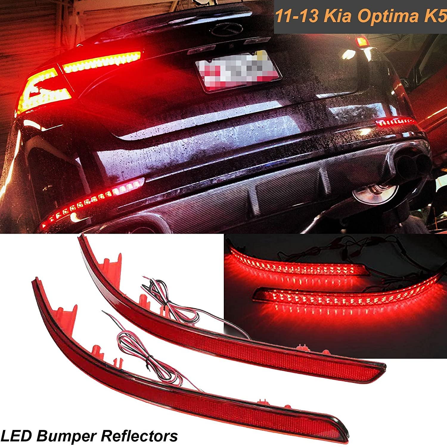 2x Led Brilliant Red Lens Rear Bumper Tail Light Kia Optima Fog Wiring Diagram Reflector Brake Stop Lights For K5 2011 2012 2013 Automotive