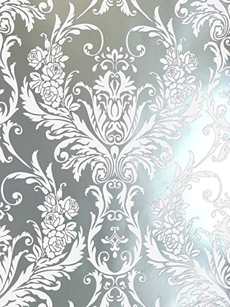 Debona Damask Medina Flock Effect Silver White Luxury Feature Wall