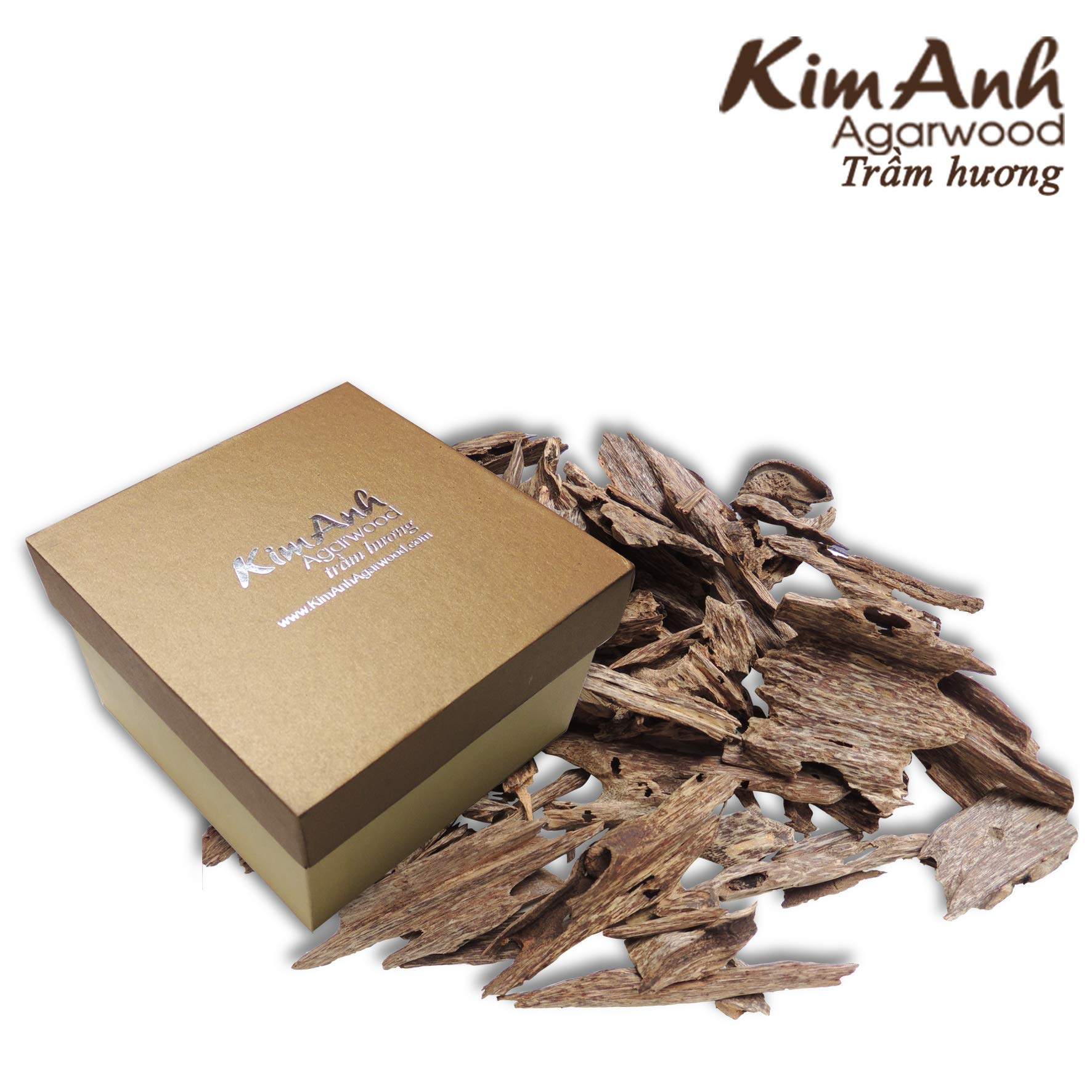 Kim Anh Agarwood chips - Vietnam natural agarwood chips - Pure high quality Agarwood Aloeswood chips - Oud wood chips - Oudh chips for - charcoal or electric incense burner- 30g