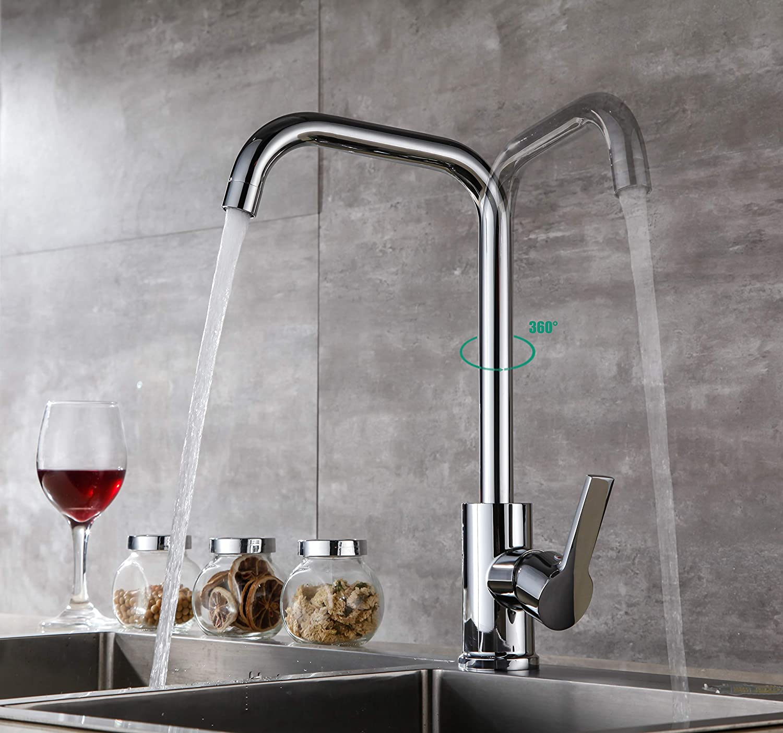 Aurho Rubinetto da Cucina Girevole a 360 /° Miscelatore Monocomando per Lavello Rubinetto da Cucina Alto Acqua Fredda e Calda in Ottone,Cromo