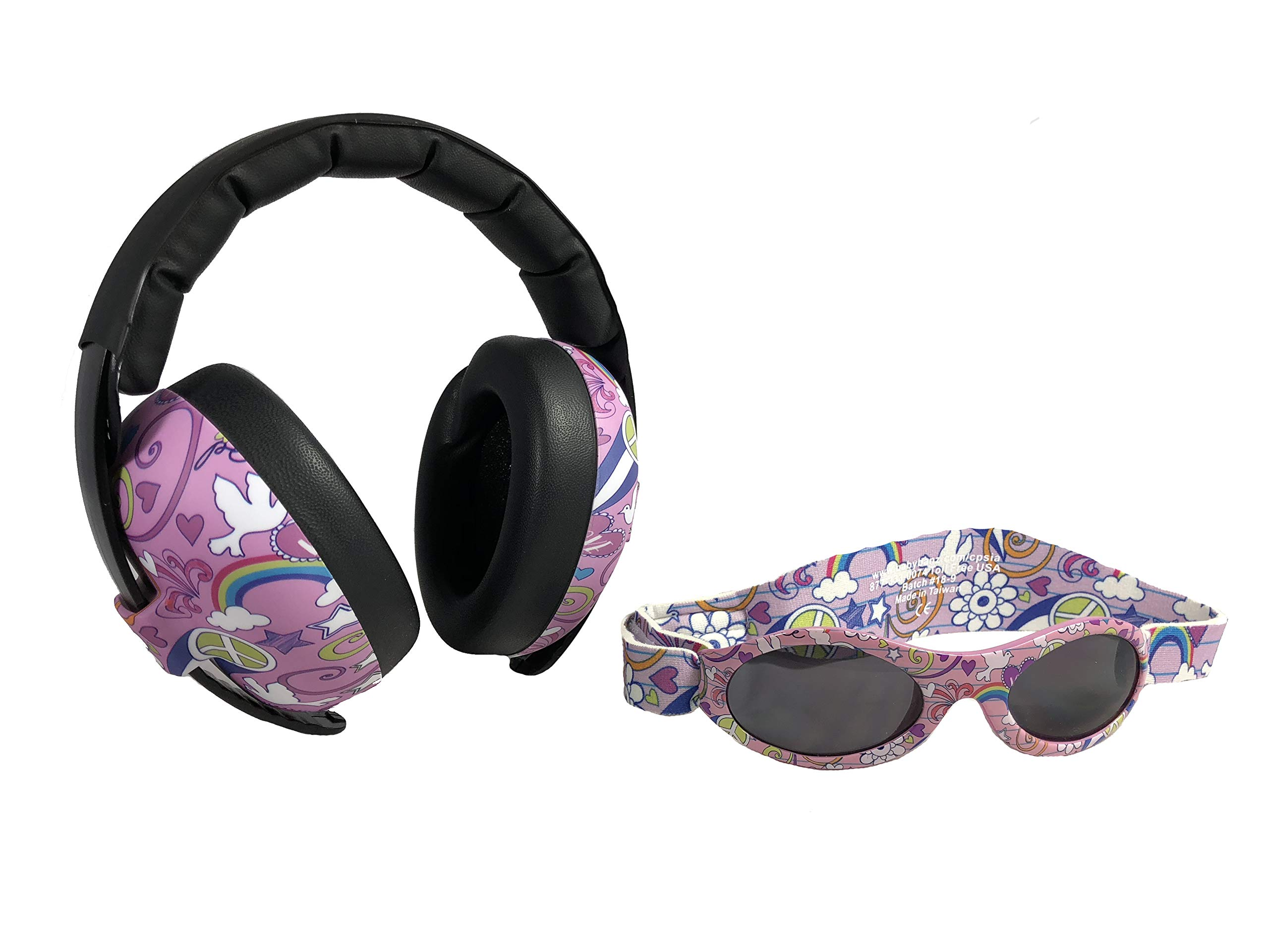 Baby Banz Earmuffs and Infant Hearing Protection and Sunglasses Combo 0-2 Years (Pink Doodle)