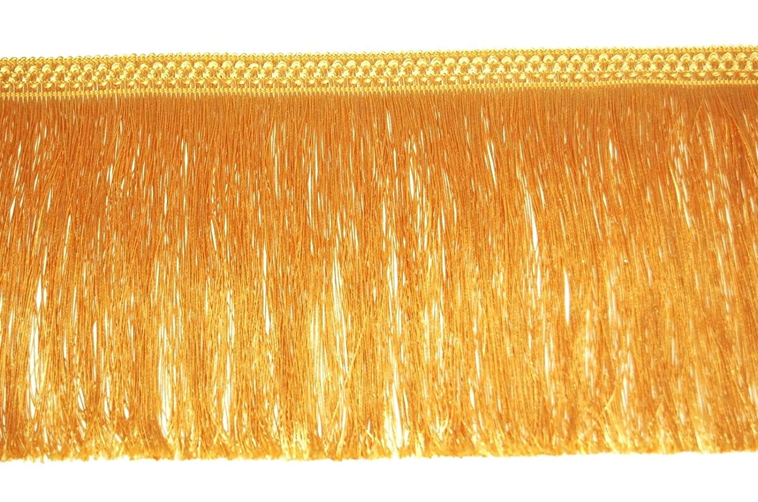 1metre FRINGE 20CM WIDE TASSEL TRIM LACE, AVAILABLE IN GOLD, SILVER, BLACK, WHITE (GOLD)