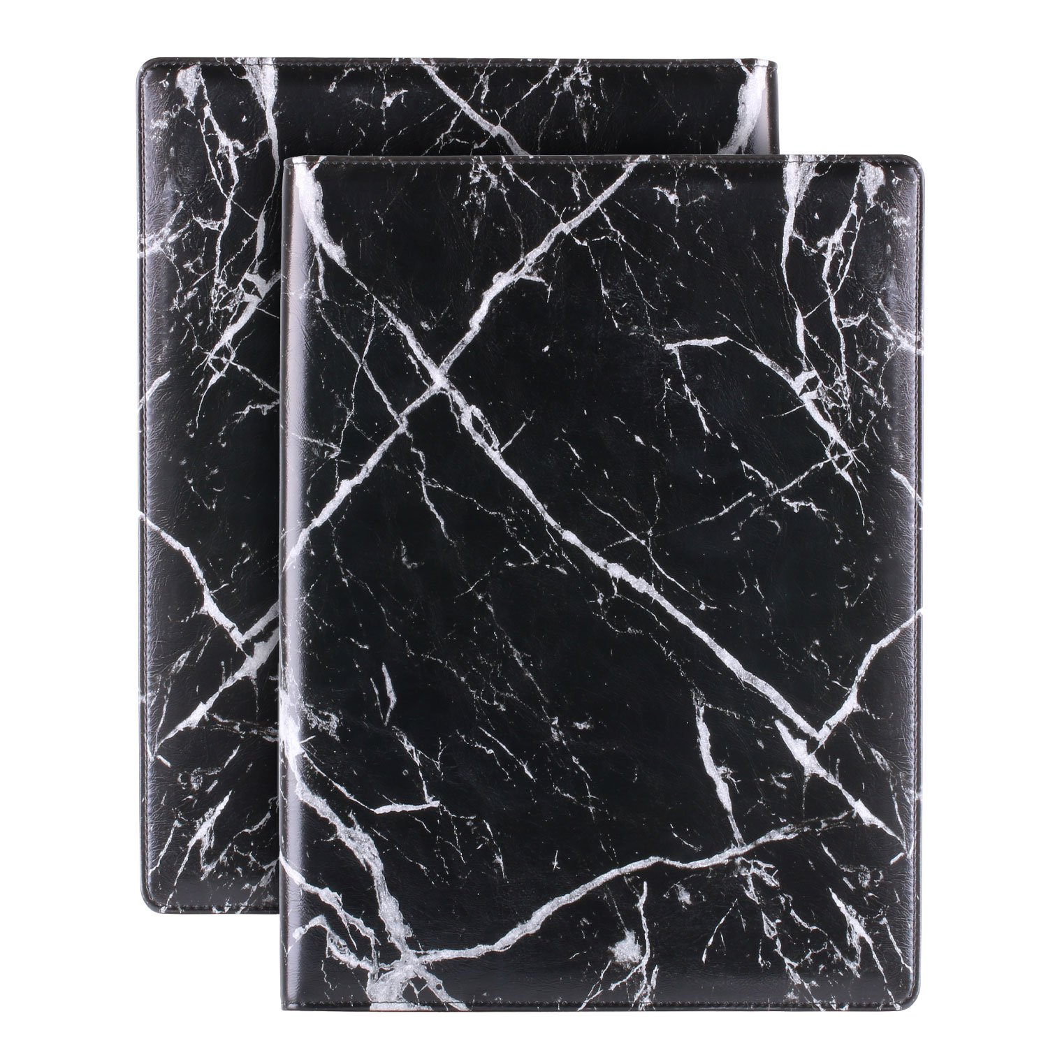 Plinrise Luxury Marble Portfolio File Folder Document Resume Organizer,Padfolio File Holder Folders Letter Size,Clipboard Folder with Writing Pad,Black Marbling