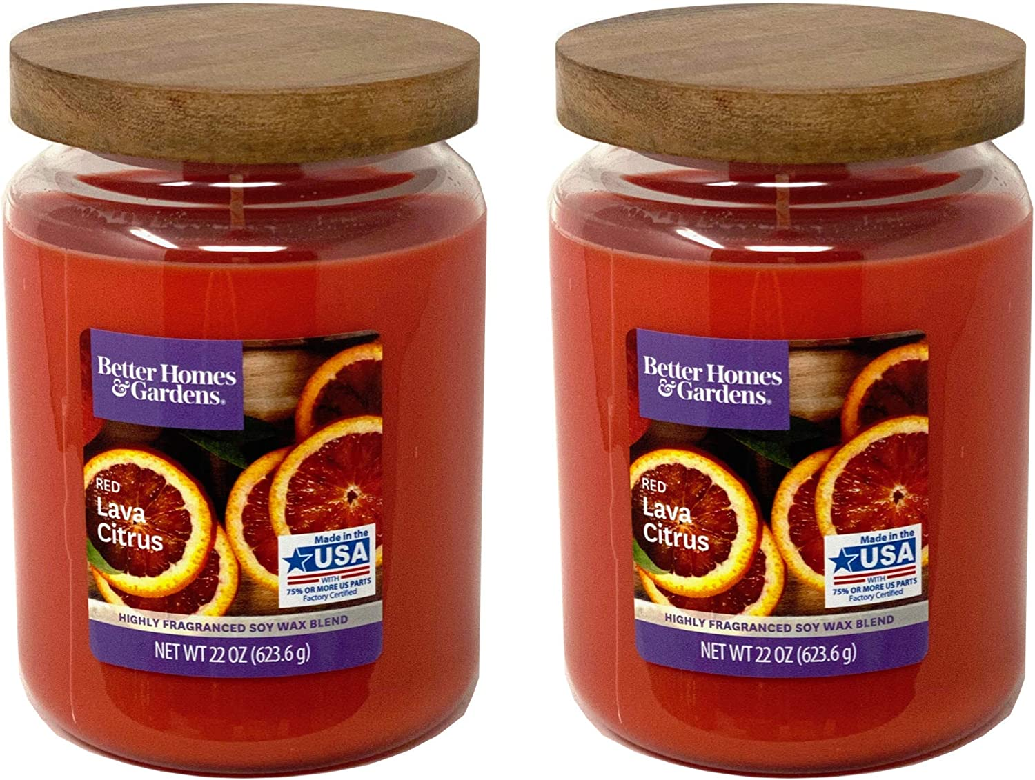 Better Homes Gardens 22oz Scented Candle, Red Lava Citrus 2-Pack