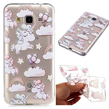 best service 4603f dd89f Galaxy J3 2016 Case, Samsung J3 2016 Animal Case, CXTcase Samsung J3 2016  Unicorn Transparent TPU Silicone Gel Soft Bumper Phone Protective Back  Cover ...