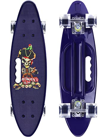 ENKEEO 22 Inch Cruiser Skateboard Complete Plastic Banana Board with  Bendable Deck and Smooth PU Casters 7fda44a0d2e