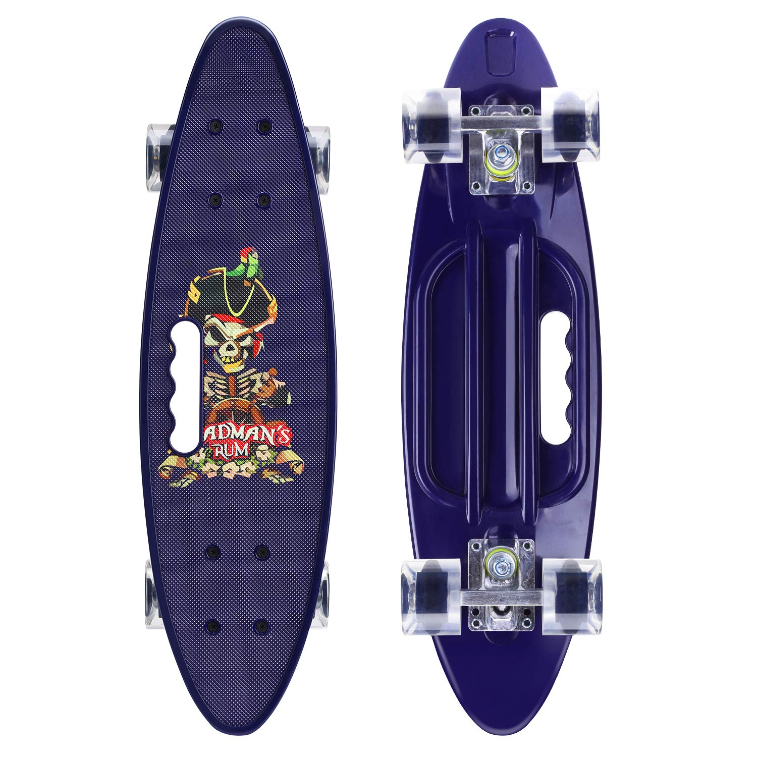 ENKEEO 22 Inch Cruiser Skateboard Complete Plastic Banana Board with Bendable Deck and Smooth PU Casters for Kids Boys Youths Beginners, 220 Ibs. (Sea Rover)